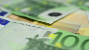Zamyka up euro banknoty zbiory