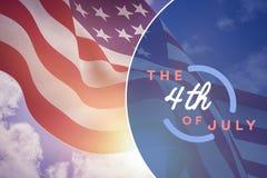 Zamyka up flaga amerykańska trzepocze w wiatrze Obrazy Royalty Free