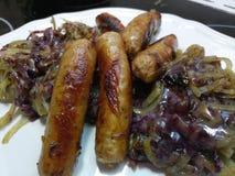 Zamyka up gorące gotować wieprzowin kiełbasy zdjęcie royalty free