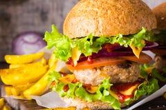 Zamyka up hamburgeru i francuza dłoniaki obrazy royalty free