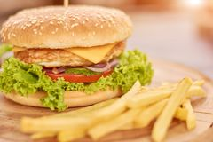 Zamyka up hamburgeru i francuza dłoniaki obraz royalty free