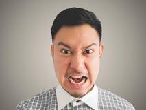 Zamyka up headshot gniewny twarz mężczyzna obraz royalty free