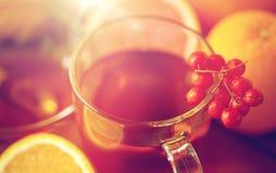 Zamyka up herbaciana filiżanka z rowanberry Obraz Stock