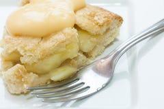 Zamyka up jabłczany kulebiak i custard Fotografia Stock