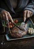 Zamyka up jagnięcego kotlecika fotografii przepisu karmowy pomysł Zdjęcia Royalty Free