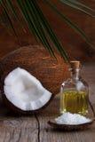 Zamyka up kokosowy olej fotografia stock