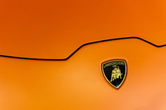Zamyka up logo Lamborghini Huracan i kapiszon Obrazy Royalty Free