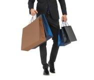 Zamyka up mężczyzna w kostiumu z torba na zakupy Obraz Stock