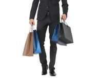 Zamyka up mężczyzna w kostiumu z torba na zakupy Zdjęcie Royalty Free