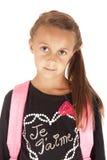 Zamyka up młoda dziewczyna uczeń z plecakiem Obrazy Royalty Free