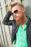 Zamyka up młody brodaty mężczyzna Fotografia Royalty Free