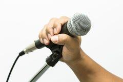 Zamyka up mikrofon w filharmonii lub sala konferencyjnej, zakończenie w górę starego mikrofonu w sala konferencyjnej, Pracowniany Obraz Royalty Free