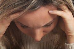 Zamyka up na młodej kobiety twarzy. Zdjęcie Royalty Free