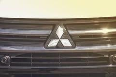 Zamyka up na Mitsubishi znaku Zdjęcia Royalty Free