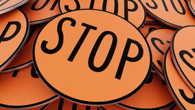 Zamyka Up Na Rozkazywać stosie Kółkowi Pomarańczowi przerwa znaki ilustracji