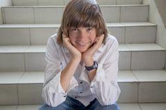 Zamyka up nastoletnia chłopiec Zdjęcia Royalty Free