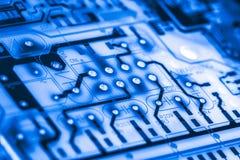 Zamyka up obwody Elektroniczni na Mainboard technologii tła logiki komputerowej desce, jednostki centralnej płyta główna, Główna  Zdjęcia Royalty Free
