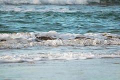 Zamyka up oceanu łamania fala w zmierzchu świetle słonecznym, wodny tekstury tło Fotografia Stock