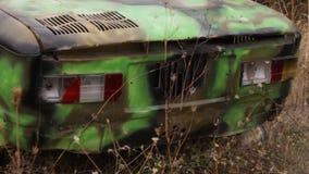 Zamyka up oldtimer reflektor strzał Zakończenie stary Radziecki samochodowy reflektor - up stary rozwalony samochód Pojęcie zdjęcie wideo