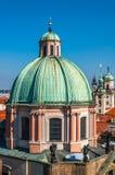 Zamyka up przy kopułą Salvator kościół, Praga Fotografia Stock