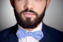Zamyka up przystojny mężczyzna z brody i łęku krawatem zdjęcia stock