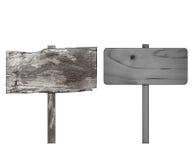 Zamyka up pusty drewniany znak na białym tle z ścinek ścieżką Obraz Stock