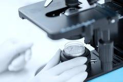 Zamyka up ręka z mikroskopu i proszka próbką Obraz Stock