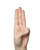 Zamyka up ręka pokazuje trzy palca Zdjęcia Stock