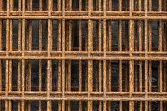 Zamyka up rdzewiejąca stara druciana siatka Ośniedziały na powierzchni stalowy drut Zdjęcie Royalty Free