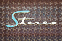 Zamyka up rocznik szafa grająca z teksta stereo zdjęcie royalty free