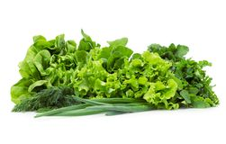 Zamyka up sałata, wiosen cebule i zielenie, Obraz Stock