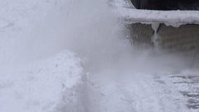 Zamyka up snowblower mechanizmu czysty śnieżny sidewak 4K zbiory