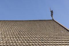 Zamyka up stary dach z typ drewniany panel Zdjęcia Royalty Free