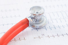Zamyka up stetoskop na ecg papierach Fotografia Royalty Free