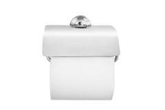 Zamyka up toaletowa rolka i właściciel w łazience & x28; paper& x29; zdjęcie stock