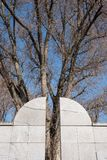 Zamyka up Umschlagplatz pomnik z drzewem behind, inkasowy punkt dla żyd od Warszawskiego getta obraz royalty free
