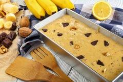 Zamyka up uncooked bananowy chleb Obraz Stock