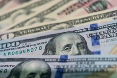 Zamyka up usa banknoty, 100 dolarów amerykańskich nutowych, 50 dolarów amerykańskich notatek, 20 dolarów amerykańskich notatek Zdjęcia Royalty Free