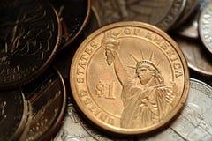 Zamyka up USA jeden dolar monetę Obraz Stock