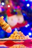 Zamyka Up Włoski Tradycyjny Karmowy Nazwany Strufoli Na plamy Col Zdjęcia Stock