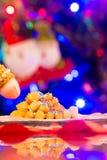 Zamyka Up Włoski Tradycyjny Karmowy Nazwany Strufoli Na plamy Col Obraz Stock