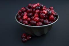 Zamyka Up Świezi Cranberries w rocznika metalu pucharze Obrazy Royalty Free