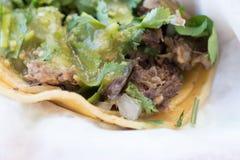 Zamyka up wołowiny i wieprzowiny ulicy tacos Obraz Royalty Free