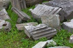 Zamyka up wykopywane antyczne rzymskie struktury fotografia royalty free