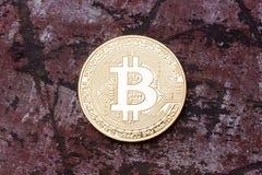 Zamyka up złoty bitcoin Zdjęcia Royalty Free