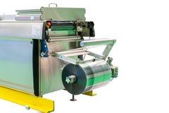 Zamyka w górę plastikowej zwitki nowoczesna technologia nowy automatyczny jedzenie i inna kocowanie maszyna dla przemysłowej rekl obrazy stock