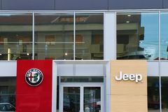 Zamyka w górę Alfa Romeo sztandaru obraz stock