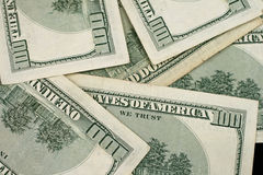 Zamyka W górę amerykanina Sto Dolarowych rachunków Fotografia Royalty Free