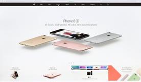 Zamyka w górę Apple Inc strona internetowa na Imac siatkówki pokazywać parawanowym iphone 6s Zdjęcia Stock