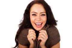 Zamyka w górę atrakcyjny starej kobiety śmiać się obraz stock